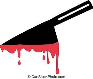 流血, 刀, 在, 身體