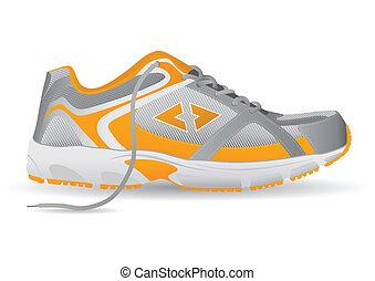 流行, スニーカー, スポーツの 靴, ベクトル