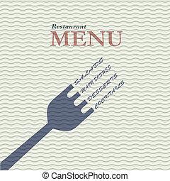 流行, レストラン, カード, メニュー