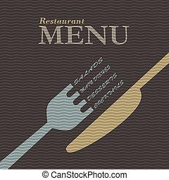 流行, レストラン, デザイン, メニュー