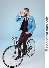 流行, 人, 在, 衣服, 上, 自行車