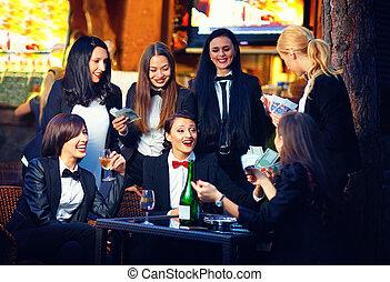 流行, 俱乐部, 巨大, 夜晚, 赌博, 妇女