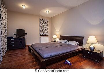 流行, 家, -, travertine, 寝室