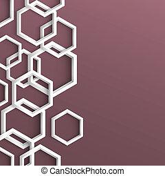 流行, 幾何学的, 3d, 背景, 六角形