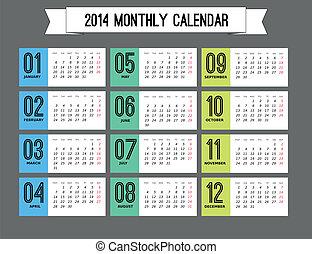 流行, 新しい, カレンダー, 2014, 年