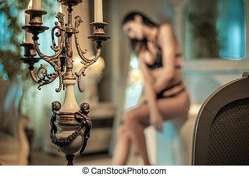 流行, 浴室, 女, 若い, sensual