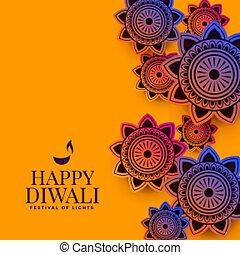 流行, 祝祭, indian, パターン, 装飾用である, diwali