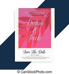 流行, 結婚式, デザイン, カード, 招待