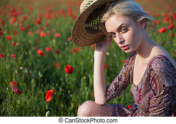 流行, 美しい, 帽子, フィールド, ブロンド, 花, 女, 赤