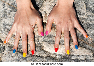 流行, 色, 2, 手, 釘, 女性, ポーランド語