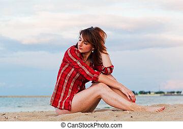 流行, 若い女性, 弛緩, 浜