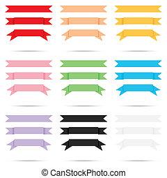 流行, 顏色, 填塞, 帶子, 老, 紙, 葡萄酒, 標簽, 旗幟, 被隔离, 矢量
