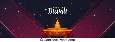 流行, diwali, 旗, テンプレート, デザイン