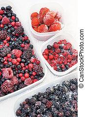 浆果, 塑料, 混合, 冻结, 容器, 雪