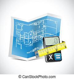 测量, 计算器, 磁带, 蓝图