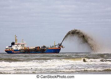 浚渫船, 上に, 北海