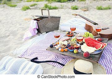 浜のピクニック, スタイル, boho, 日没