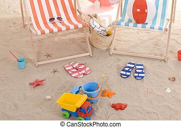 浜の 椅子, ∥で∥, カラフルである, 砂おもちゃ