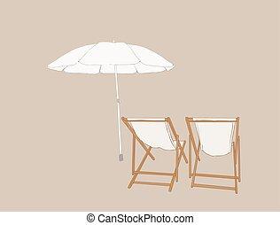浜の 椅子, ∥で∥, 傘, スケッチ, vector.