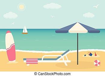 浜の 椅子, 浜。, 傘, 砂