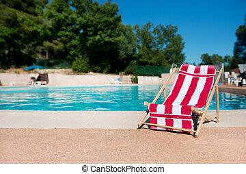浜の 椅子, 近くに, プール
