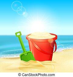 浜の 砂, シャベル, バケツ