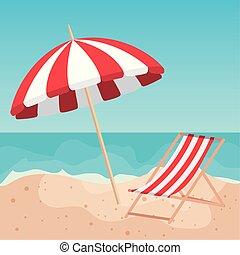 浜の 砂, 椅子, 傘, 日焼け