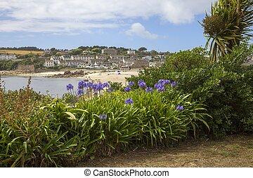 浜, ∥に向かって∥, イギリス\, メアリーの, st., 見る, porthcressa, scilly, 島
