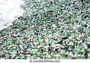 浜, の, ガラス, 小石