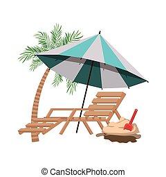 浜, やし, 傘, しまのある, 木