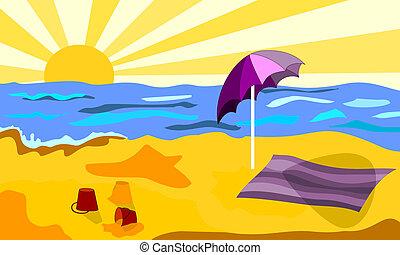 浜, よく晴れた日