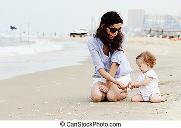 浜, わずかしか, 娘, 母