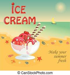浜, アイスクリーム, 夏, 旗