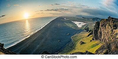 浜, アイスランド, aeria, 村, 光景, dyrholaey, vik