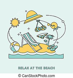 浜, イラスト, リラックスしなさい