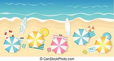 浜, サングラス, 観光客, 傘, サーフボード