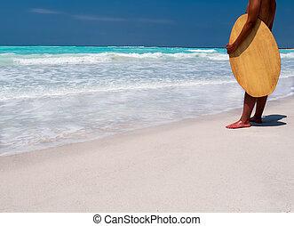 浜, サーファー, 地位, トロピカル