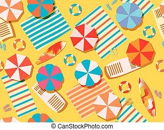 浜, サーフボード, 傘, vacation., 上, seamless, フリップフロップ, ラウンジ, ベクトル, bedspreads., イラスト, chaise, ビュー。, 浜