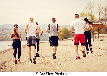 浜, ジョッギング, 友人, グループ