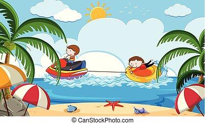 浜, スキー, ジェット機, 活動