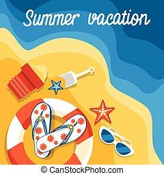 浜, セット, 夏, トロピカル, 砂, 旗, 休暇