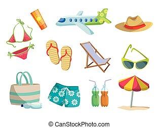 浜, セット, 有色人種, アイコン, travel., 休暇, ベクトル, 白, 夏
