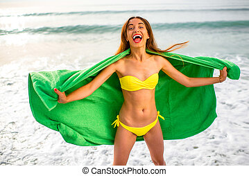 浜 タオル, 緑, 女