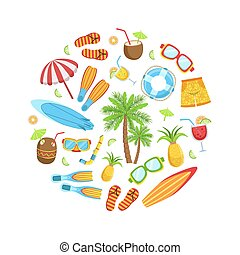 浜, トロピカル, ベクトル, テンプレート, 季節, イラスト, ホリデー, 要素, サマータイム, 旗, 形, ラウンド