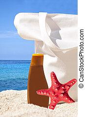 浜, ヒトデ, トロピカル, 太陽, -, 休日, 袋, クリーム, 概念