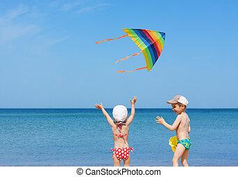浜, プレーしなさい, 兄弟, 一緒に, 子供, 凧, 楽しみ