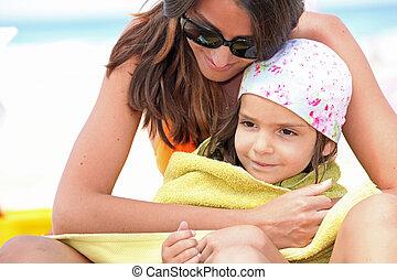 浜, 乾燥, 娘, タオル, 母