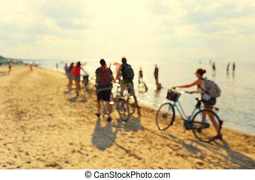 浜。, 人々, 若い, bicycles, blurry, 砂