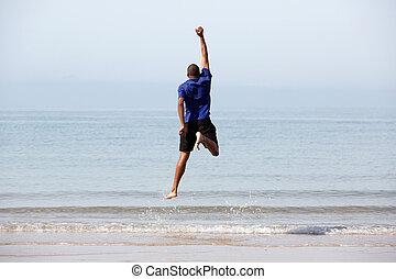 浜, 人, 跳躍, 黒, 若い
