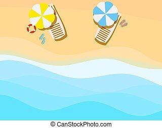 浜, 傘, イラスト, ラウンジ, ベクトル, 海岸, sea., chaise, サンダル, waves.